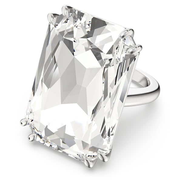 Mesmera cocktail ring, Oversized crystal, White, Rhodium plated - Swarovski, 5600858