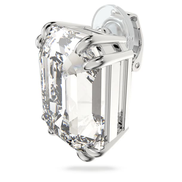 Mesmera clip earring, Single, Octagon cut crystal, White, Rhodium plated - Swarovski, 5600860