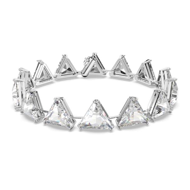 Millenia 手鏈, 釘狀三角形切割施華洛世奇水晶, 白色, 鍍白金色 - Swarovski, 5600864
