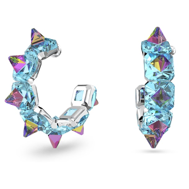 Chroma hoop earrings, Blue, Rhodium plated - Swarovski, 5600894