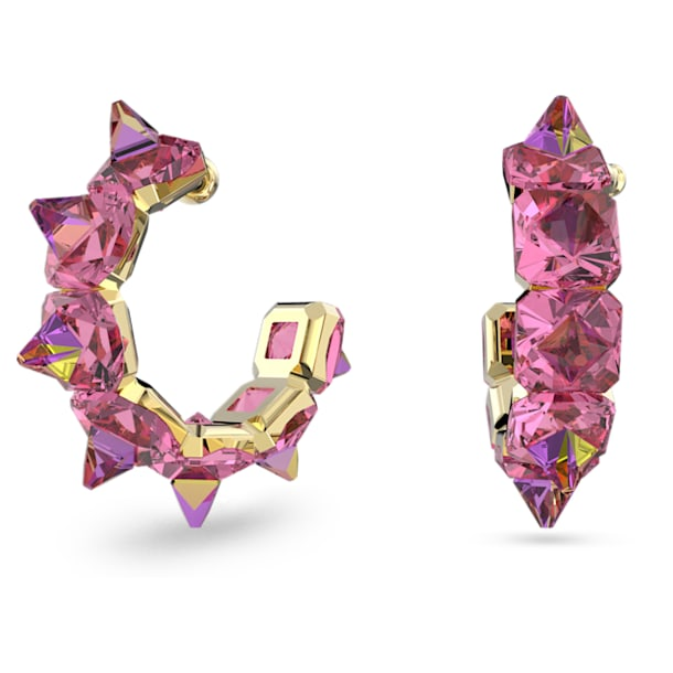 Chroma hoop earrings, Pink, Gold-tone plated - Swarovski, 5600895