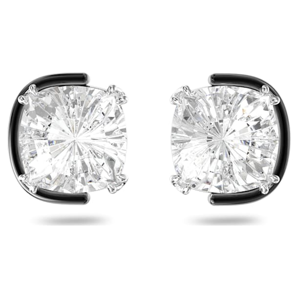 Harmonia stud earrings, Cushion cut crystals, White, Mixed metal finish - Swarovski, 5600943