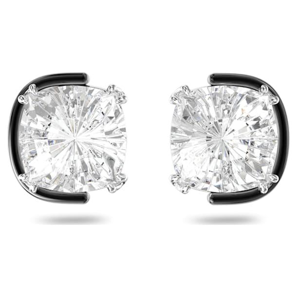 Pendientes de botón Harmonia, Cristales de talla cushion, Blanco, Combinación de acabados metálicos - Swarovski, 5600943