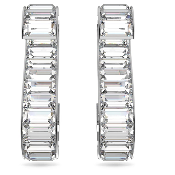 Matrix earrings, White, Rhodium plated - Swarovski, 5600973