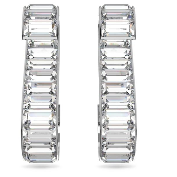 Matrix S earrings, White, Rhodium plated - Swarovski, 5600973