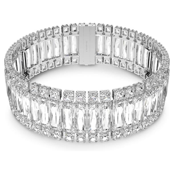 Hyperbola choker, Rectangular cut crystal, White, Rhodium plated - Swarovski, 5601035
