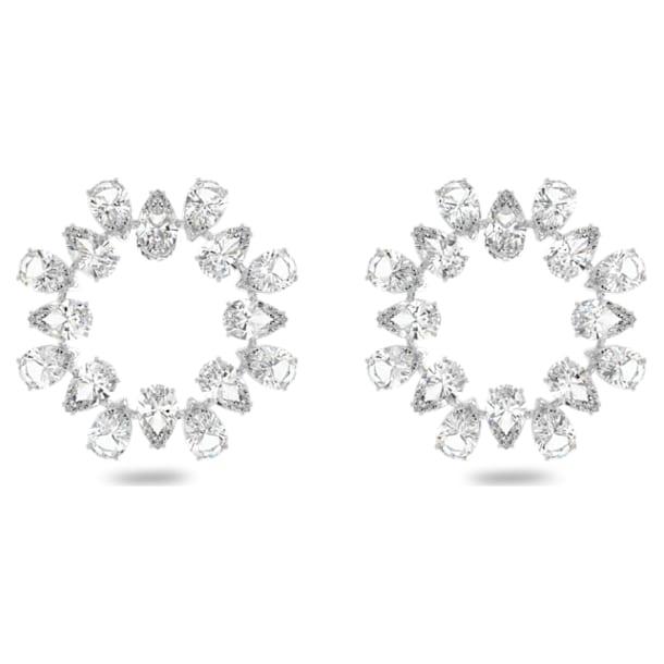 Millenia earrings, Circle, Pear cut crystals, Medium, White, Rhodium plated - Swarovski, 5601509