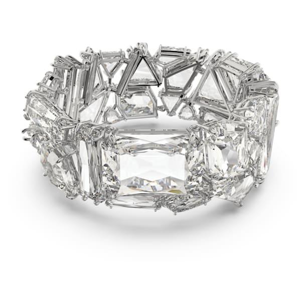 Mesmera bracelet, Oversized crystals, White, Rhodium plated - Swarovski, 5601530