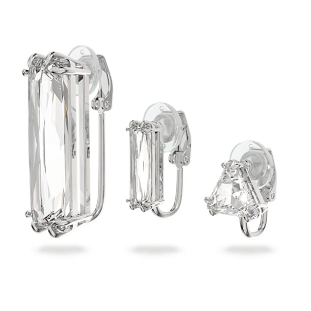 Mesmera clip earring, Single, Set, Baguette cut crystal, White, Rhodium plated - Swarovski, 5601534