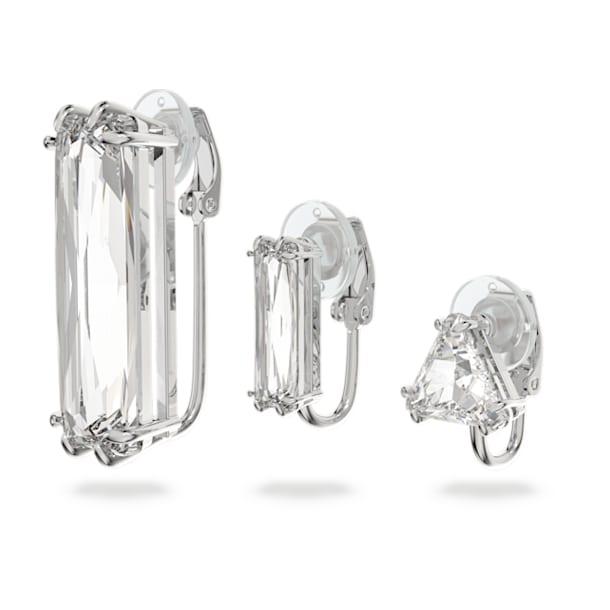 Pendiente de clip Mesmera, Individual, Conjunto, Cristal talla baguette, Blanco, Baño de rodio - Swarovski, 5601534