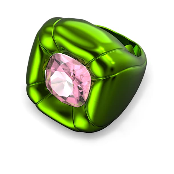 Dulcis cocktail ring, Cushion cut crystals, Green - Swarovski, 5601542