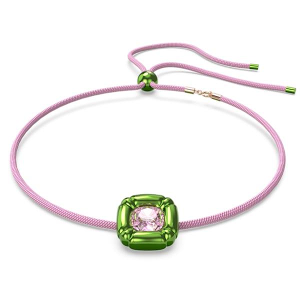 Dulcis necklace, Cushion cut crystals, Green - Swarovski, 5601585