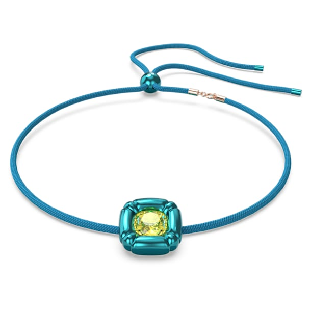 Dulcis necklace, Cushion cut crystals, Blue - Swarovski, 5601586