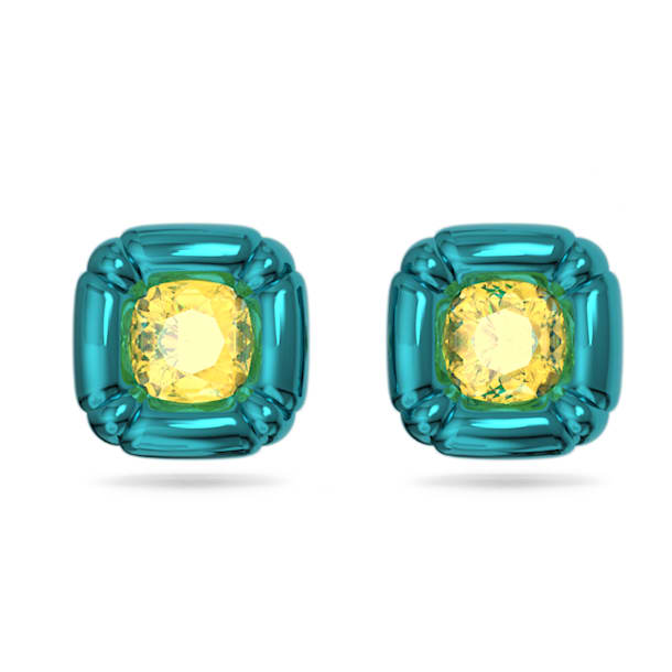 Pendientes de botón Dulcis, Cristales de talla cushion, Azul - Swarovski, 5601588