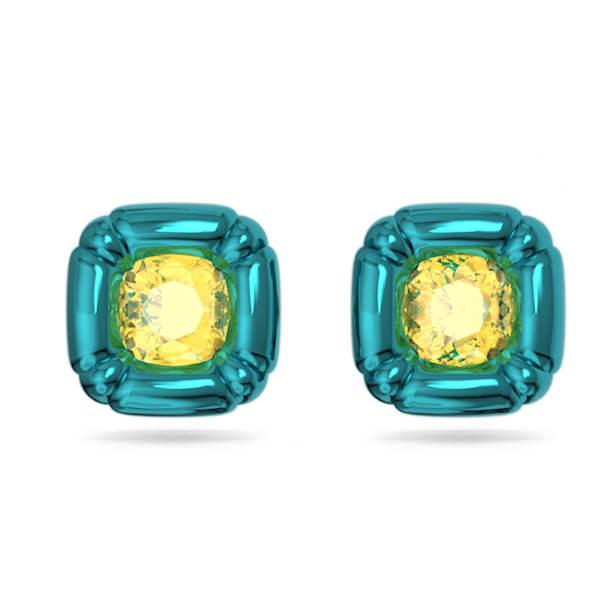 Dulcis stud earrings, Cushion cut crystals, Blue - Swarovski, 5601588