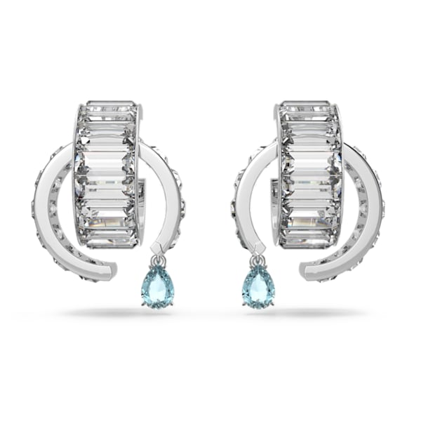 Matrix earrings, White, Rhodium plated - Swarovski, 5601630