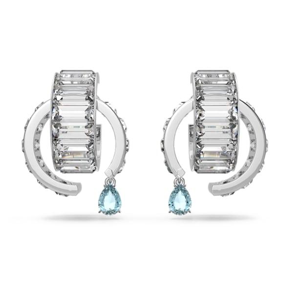 Matrix earrings, Blue, Rhodium plated - Swarovski, 5601630