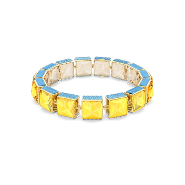 Orbita bracelet, Square cut crystal, Multicolored, Gold-tone plated - Swarovski, 5601885