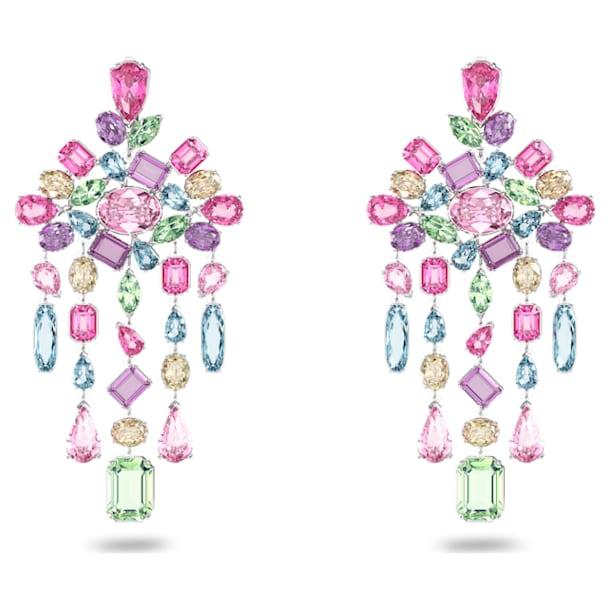 Gema clip earrings, Chandelier, Multicolored, Rhodium plated - Swarovski, 5601887