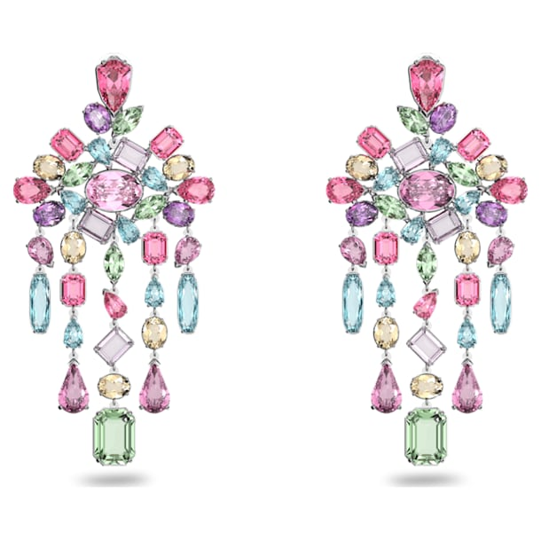 Gema clip earrings, Chandelier, Multicoloured, Rhodium plated - Swarovski, 5601887