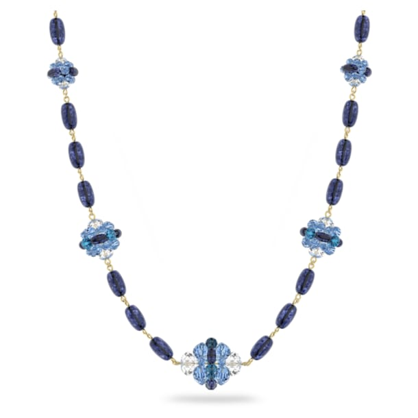 Somnia necklace, Extra long, Blue, Gold-tone plated - Swarovski, 5601905