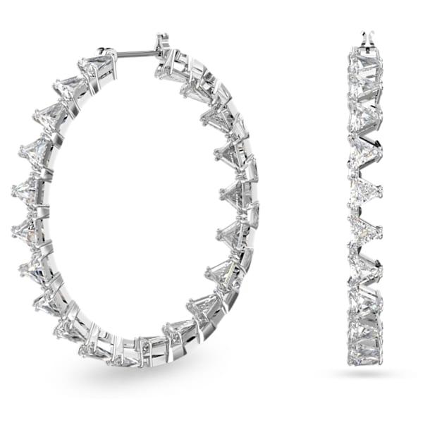 Millenia hoop earrings, Triangle Swarovski zirconia, White, Rhodium plated - Swarovski, 5602230