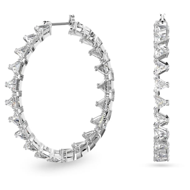 Millenia hoop earrings, Triangle Swarovski zirconia, White, Rhodium plated - Swarovski, 5602230