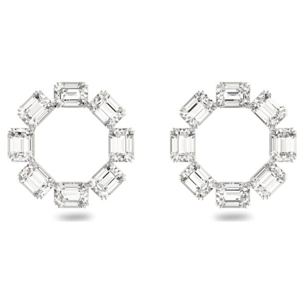 Millenia earrings, Circle, Octagon cut crystals, White, Rhodium plated - Swarovski, 5602780