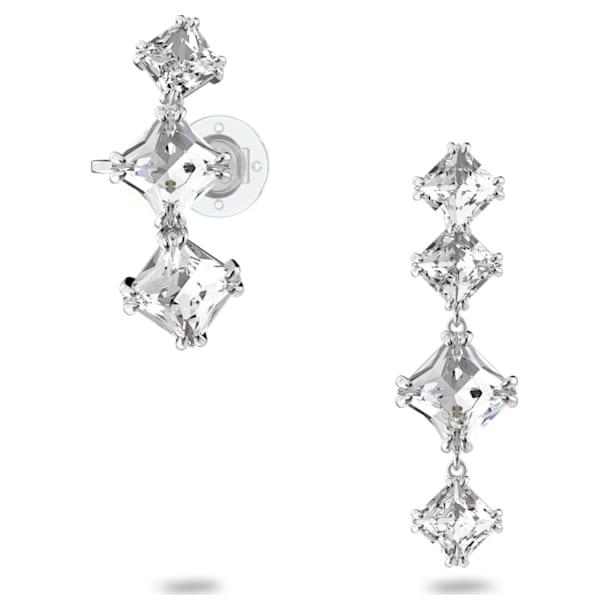 Millenia drop earrings, Asymmetrical, Set, White, Rhodium plated - Swarovski, 5602782