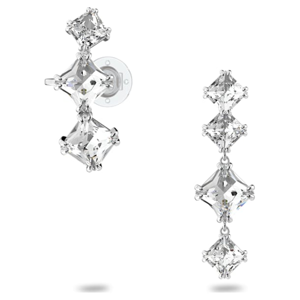 Millenia drop earrings, Asymmetrical, Set, White, Rhodium plated - Swarovski, 5602782