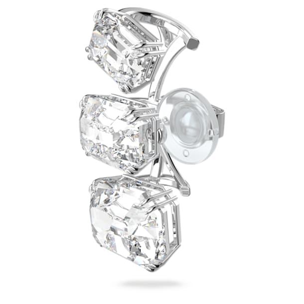 Millenia ear cuff, Single, Graduated crystals, White, Rhodium plated - Swarovski, 5602783