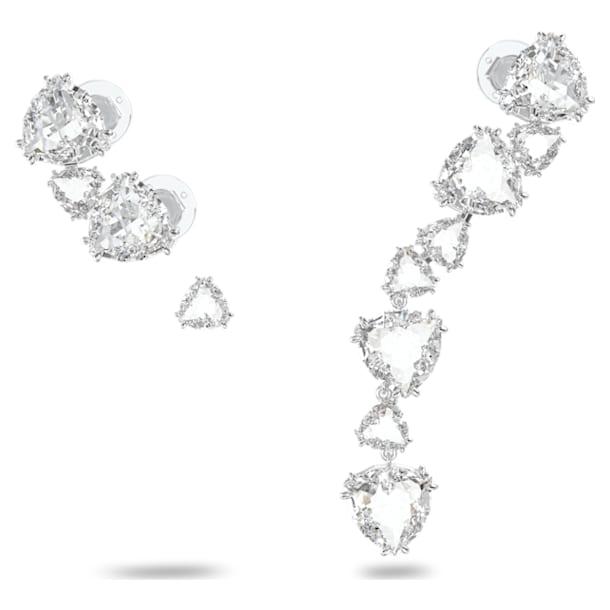 Σκουλαρίκι-χειροπέδα Millenia, Μονό, Ασύμμετρα σταγονοειδή κρύσταλλα, Σετ (3), Λευκό, Επιμετάλλωση ροδίου - Swarovski, 5602846