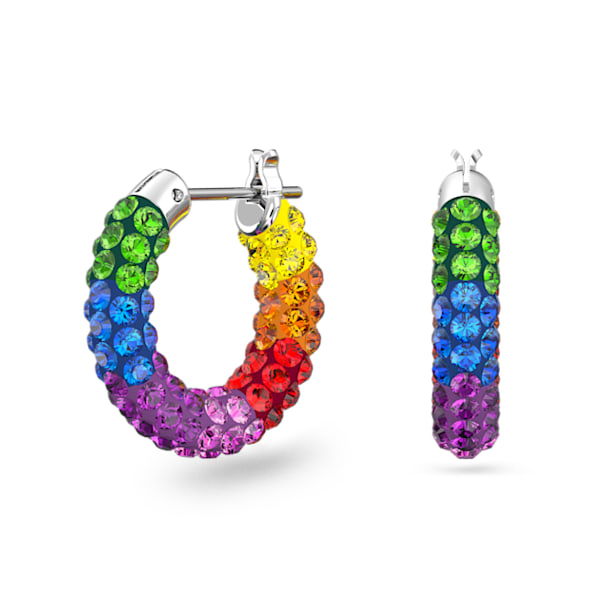 Tigris hoop earrings, Multicolored, Rhodium plated - Swarovski, 5604958