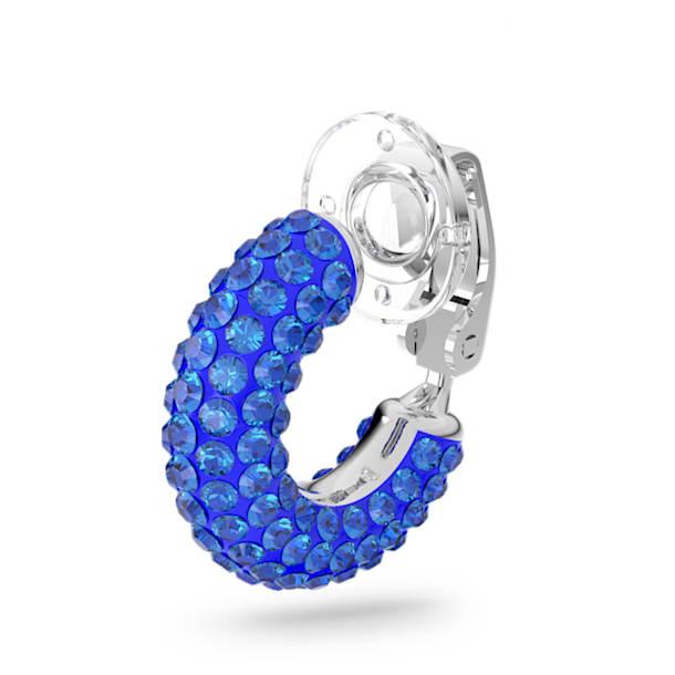 Tigris ear cuff, Blauw, Rodium toplaag - Swarovski, 5604961