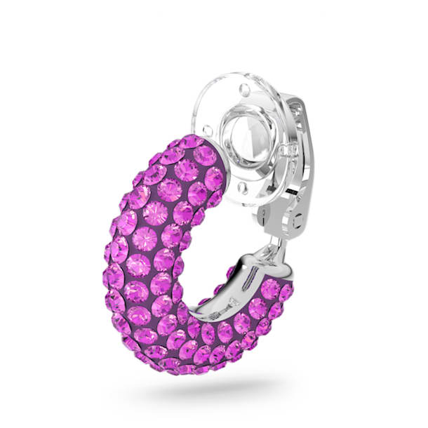 Tigris ear cuff, Single, Pink, Rhodium plated - Swarovski, 5604962