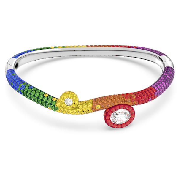 Tigris cuff, Multicolored, Rhodium plated - Swarovski, 5605009