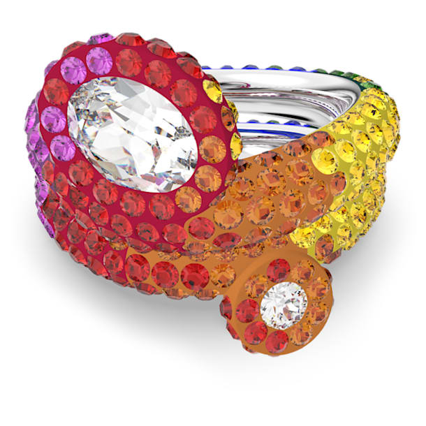 Δαχτυλίδι Tigris, Σετ, Πολύχρωμο, Επιμετάλλωση ροδίου - Swarovski, 5605010