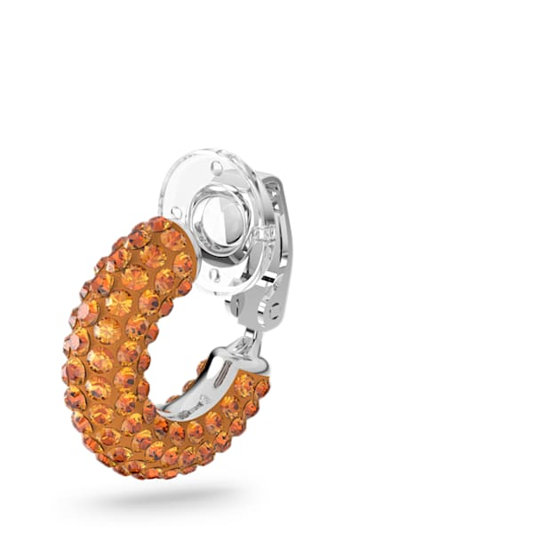 Tigris ear cuff, Single, Orange, Rhodium plated - Swarovski, 5605011