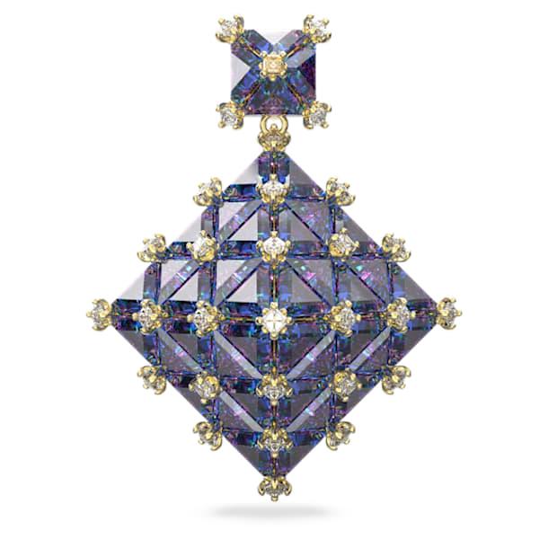 Kolczyk zapinany na sztyft Curiosa, Pojedynczy, Kwadratowy, Niebieski, Powłoka w odcieniu złota - Swarovski, 5607211