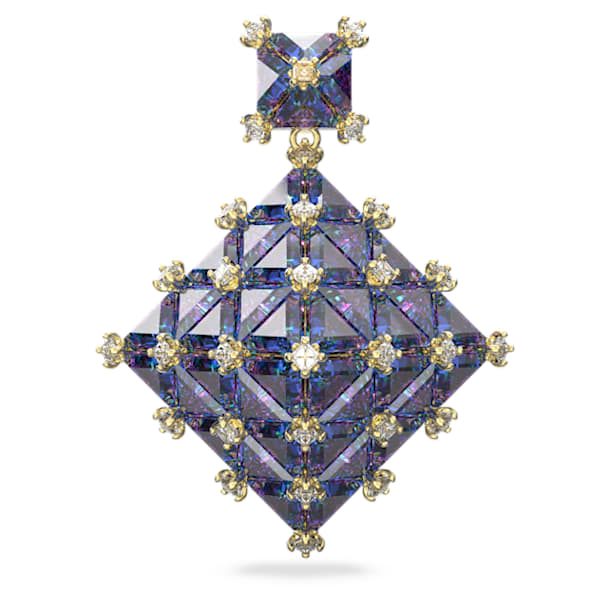 Pendiente stud Curiosa, Suelto, Cuadrado, Azul, Baño tono oro - Swarovski, 5607211