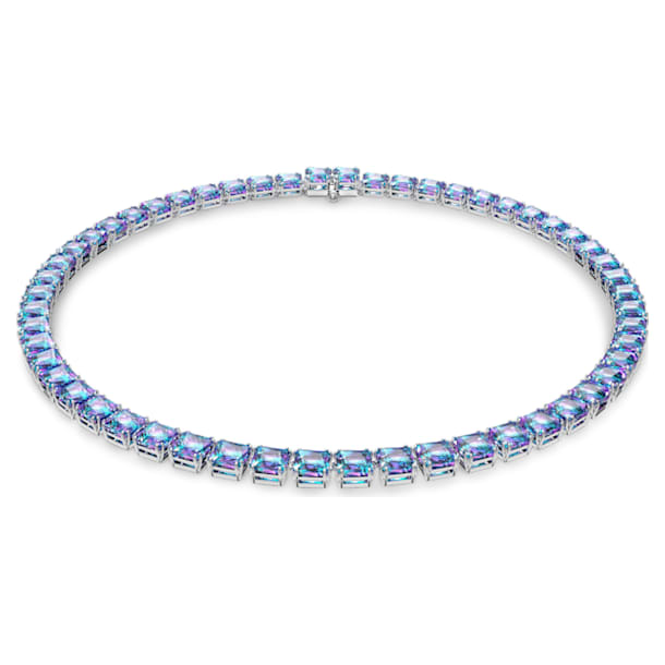 Millenia necklace, Square cut Swarovski Zirconia, Purple, Rhodium plated - Swarovski, 5608357