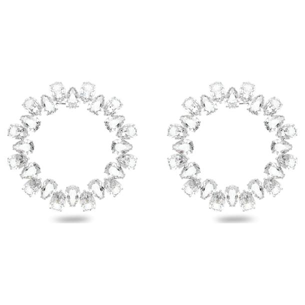 Millenia earrings, Circle, Pear cut crystals, Large, White, Rhodium plated - Swarovski, 5608814