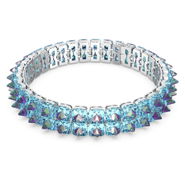 Chroma choker, Spike crystals, Blue, Rhodium plated - Swarovski, 5608903