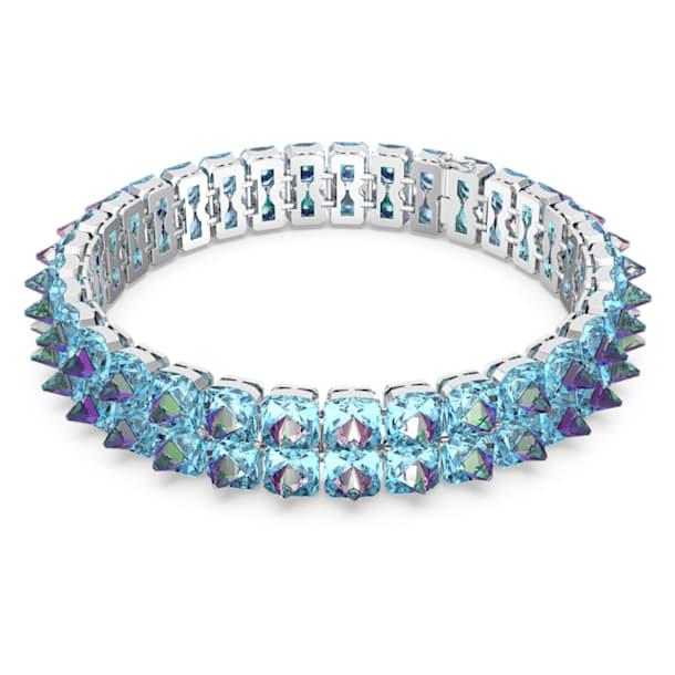 Chroma choker nyaklánc, Tüskemetszésű kristályok, Kék, Ródium bevonattal - Swarovski, 5608903