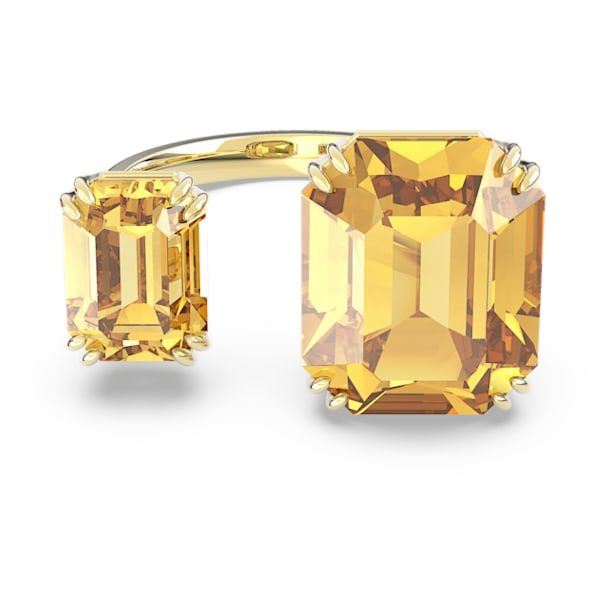 Millenia open ring, Square cut crystals, Yellow, Gold-tone plated - Swarovski, 5609002