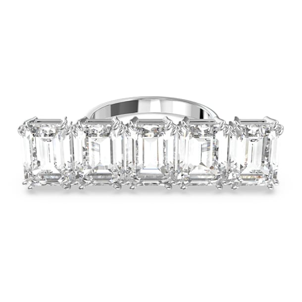 Millenia cocktail ring, White, Rhodium plated - Swarovski, 5609004