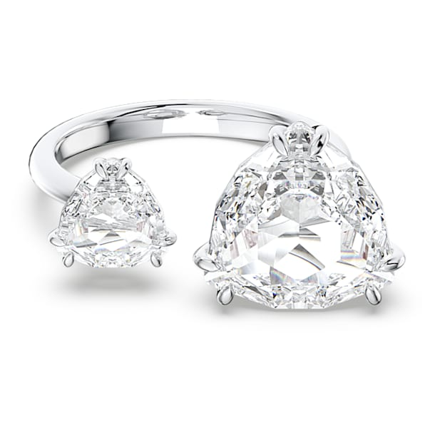 Millenia cocktail ring, Triangle cut crystals, White, Rhodium plated - Swarovski, 5609005