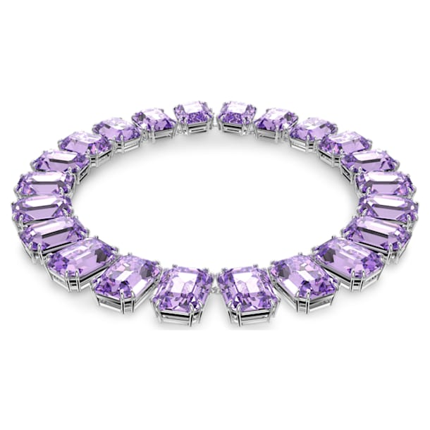 Millenia necklace, Octagon cut crystals, Purple, Rhodium plated - Swarovski, 5609701