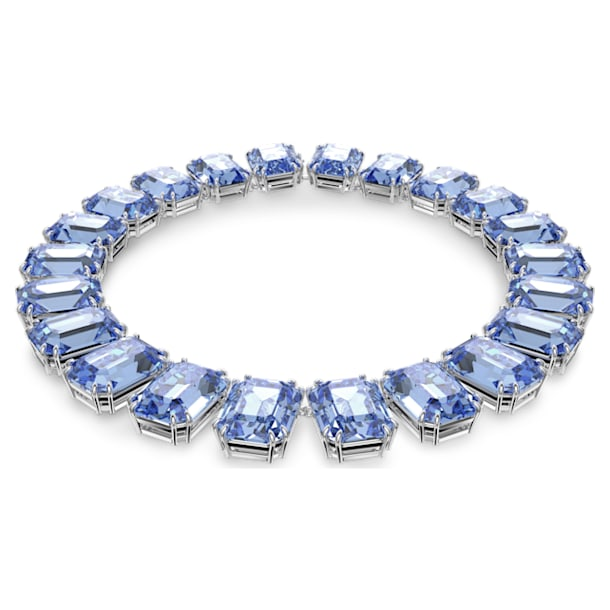 Millenia necklace, Octagon cut crystals, Blue, Rhodium plated - Swarovski, 5609703