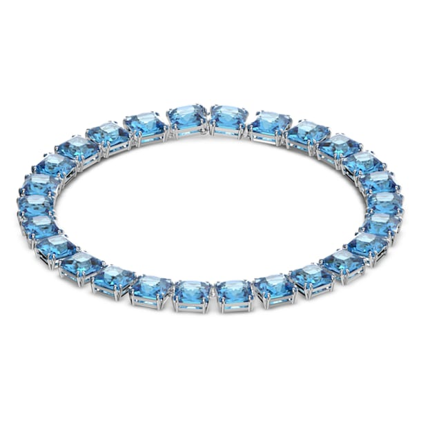 Millenia ketting, Kristallen met square-slijpvorm, Blauw, Rodium toplaag - Swarovski, 5609704